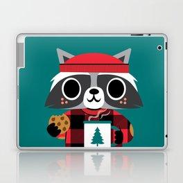 Raccoon in Red Buffalo Plaid Sweater Laptop & iPad Skin