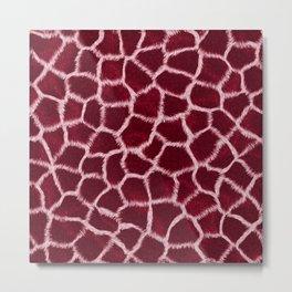 Burgundy Giraffe Skin Metal Print