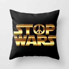 Stop wars in gold - world peace concept Throw Pillow