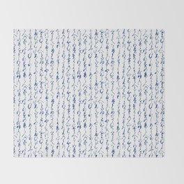 Ancient Japanese Calligraphy // Dark Blue Throw Blanket