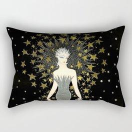 """Art Deco Sepia Illustration """"Star Studded Glamor"""" Rectangular Pillow"""