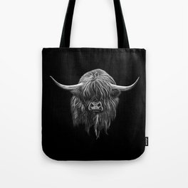 Scottish Highland Cow (bw) Tote Bag