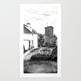 """The """"Hie Gait"""" and """"St Serf's Tower"""", Dysart in Fife, East coast of Scotland Art Print"""