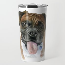 Boxer Dog Portrait Watercolor Travel Mug