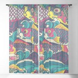Colorful Koinobori carp streamer, carp-shaped windsocks hand drawn illustration pattern. Japanese traditional koi pattern Sheer Curtain