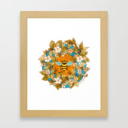 Bumblebee In Wild Rose Wreath Framed Art Print