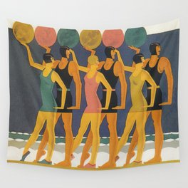 Art Deco Swimwear and Beach Balls Vintage Poster Wall Tapestry