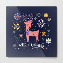 Happy Deer Card Metal Print