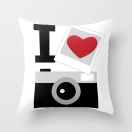 I love camera Throw Pillow