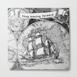 Ship and Map .  Home Decor for Him and Her Metal Print