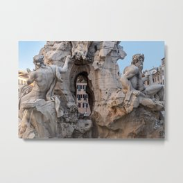 Four Rivers Fountain on Piazza Navona - Rome, Italy Metal Print