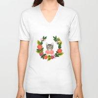 leah flores V-neck T-shirts featuring Scout con Flores by Leah Romero