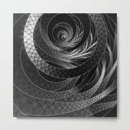 Shining Silver Corded Fractal Bangles Metal Print