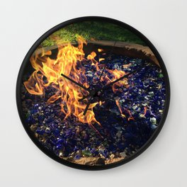 Fire on Blue Wall Clock