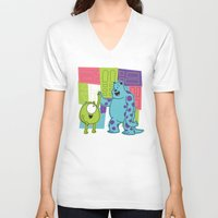 monster inc V-neck T-shirts featuring Monster Time by Moysche Designs