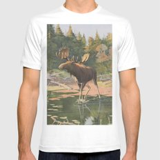 Vintage Moose Illustration (1902) Mens Fitted Tee White SMALL