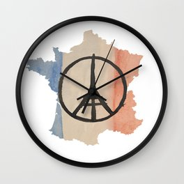Outline of France with Tri-color Peace Wall Clock