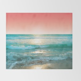 Aqua and Coral, 1 Throw Blanket