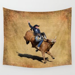 Bull Dust! - Rodeo Bull Riding Cowboy Wall Tapestry