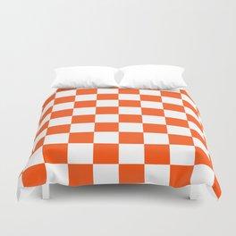 Cheerful Orange Checkerboard Duvet Cover