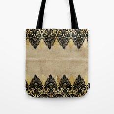 Elegance- Ornament black and gold lace on grunge paper backround Tote Bag