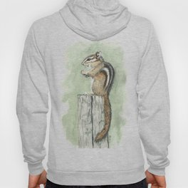 Chipmunk on a Fence Post - Watercolor Hoody