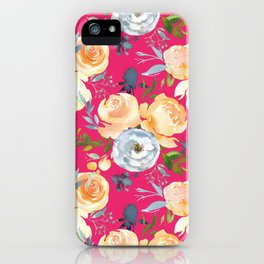 Girly pink teal orange yellow watercolor floral iPhone Case