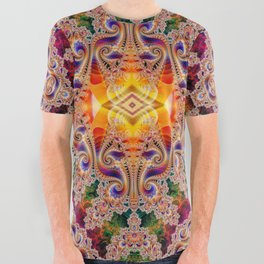 BBQSHOES: Diamond Phoenix Heart Fractal All Over Graphic Tee