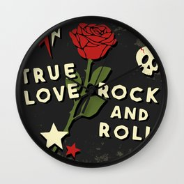 Grunge rock slogan print Wall Clock