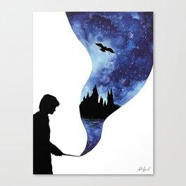 HarryPotter Hogwarts Castle Double Exposure Watercolor Canvas Print