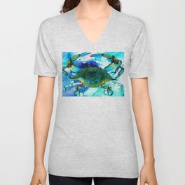 Blue Crab - Abstract Seafood Painting Unisex V-Neck
