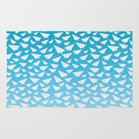 planes Area & Throw Rugs featuring Paper Planes by Elle Moz
