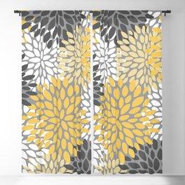 Modern Elegant Chic Floral Pattern, Soft Yellow, Gray, White Blackout Curtain