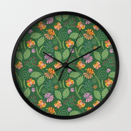 Spring Flowers and Butterflies Wall Clock