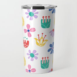Nordic Floral in Mod Rainbow + White Travel Mug