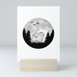 Samoed moon sled dog Samoeds Mini Art Print