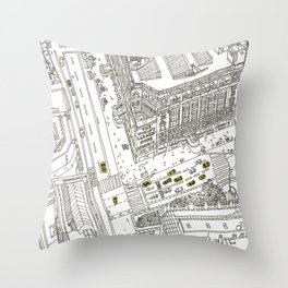 Cabs in new York Throw Pillow
