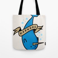 narwhal Tote Bags featuring Narwhal by Katie Bell