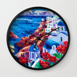 Santorini churches Wall Clock