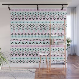 Aztec Influence Pattern III Blue Black Pink White Wall Mural