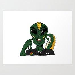 Alien Picking His Nose Art Print