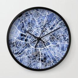 Manchester England City Street Map Wall Clock