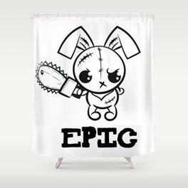 Epic Grumpy Voodoo Bunny Cute Bigfoot Monsters Shower Curtain