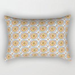 Retro Round Tiles Mexico Daisy White Rectangular Pillow
