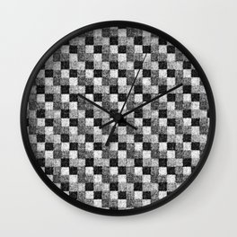 Rustic Charcoal Gray and Black Patchwork Wall Clock