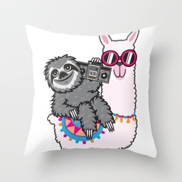 Sloth Music Llama Throw Pillow