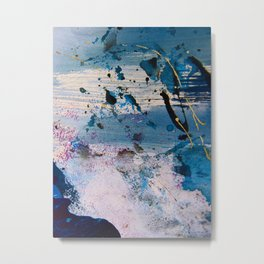 View from the Top: a pretty, minimal abstract piece in blue gold and white by Alyssa Hamilton Art Metal Print