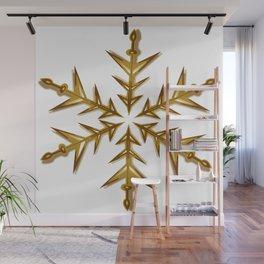 Minimalistic Golden Snowflake Wall Mural