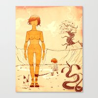 wooden Canvas Prints featuring Wooden by Kam Redlawsk