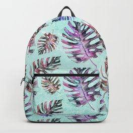 Modern hand painted pink purple watercolor monster leaves Backpack